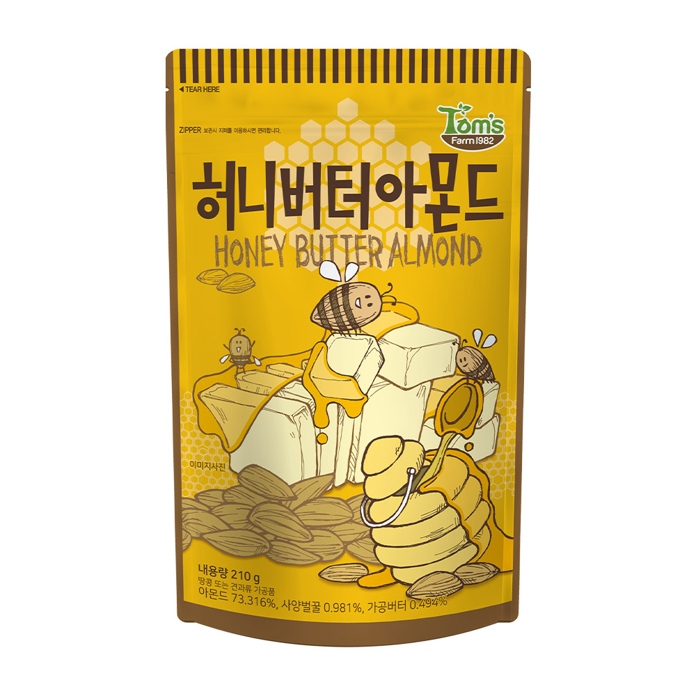 탐스팜 허니버터 아몬드, 210g, 1개