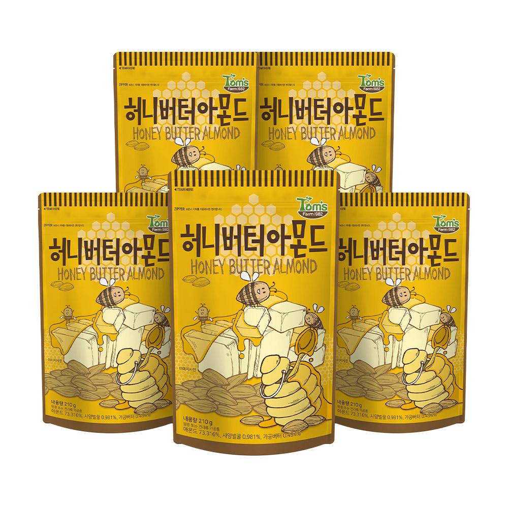 탐스팜 허니버터아몬드, 210g, 5개
