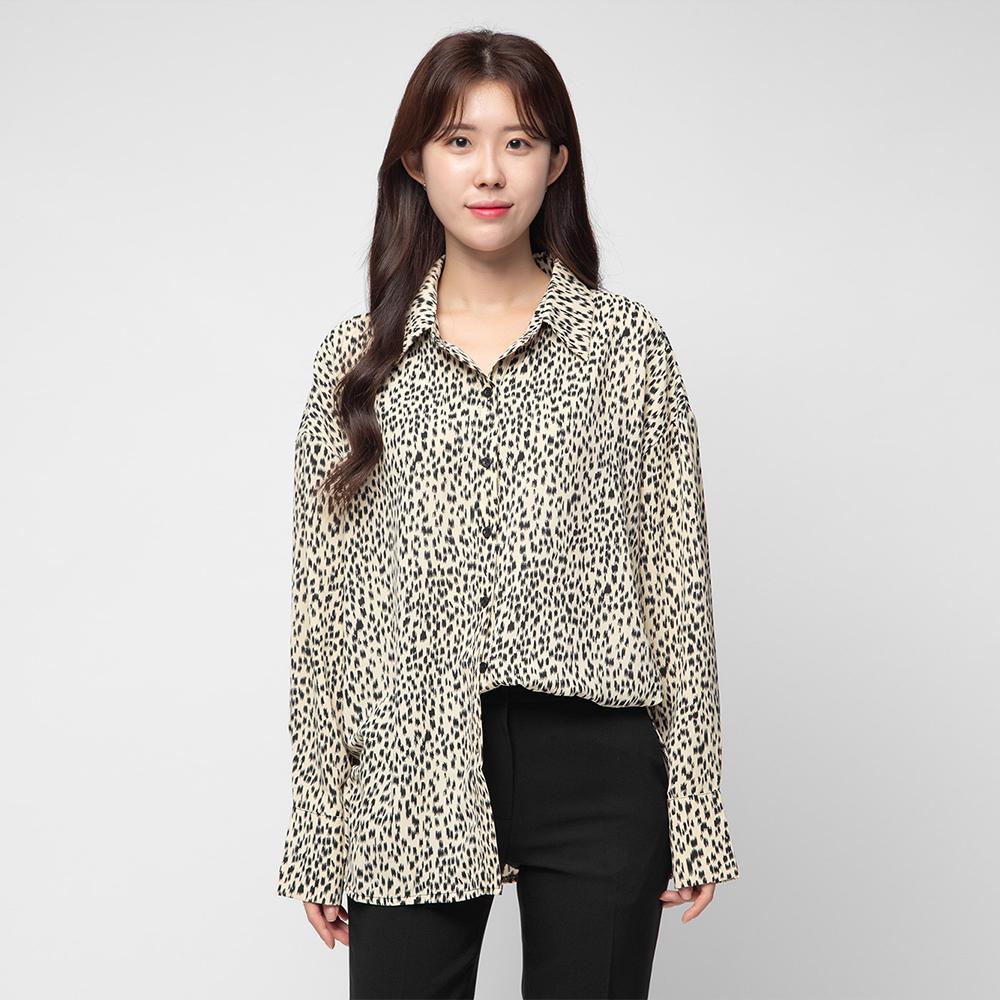 캐럿 여성용 루즈핏 레오파드 호피 셔츠 블라우스