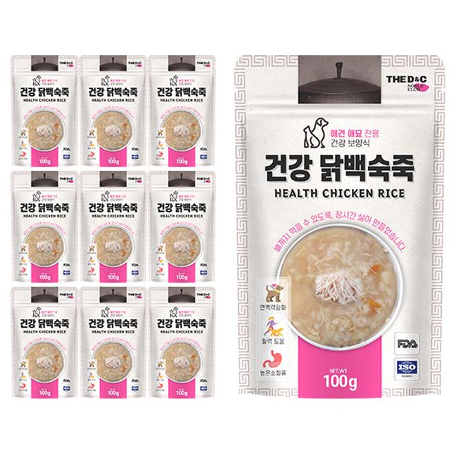 더디앤씨 건강 강아지간식 파우치 100g, 닭백숙죽, 10개