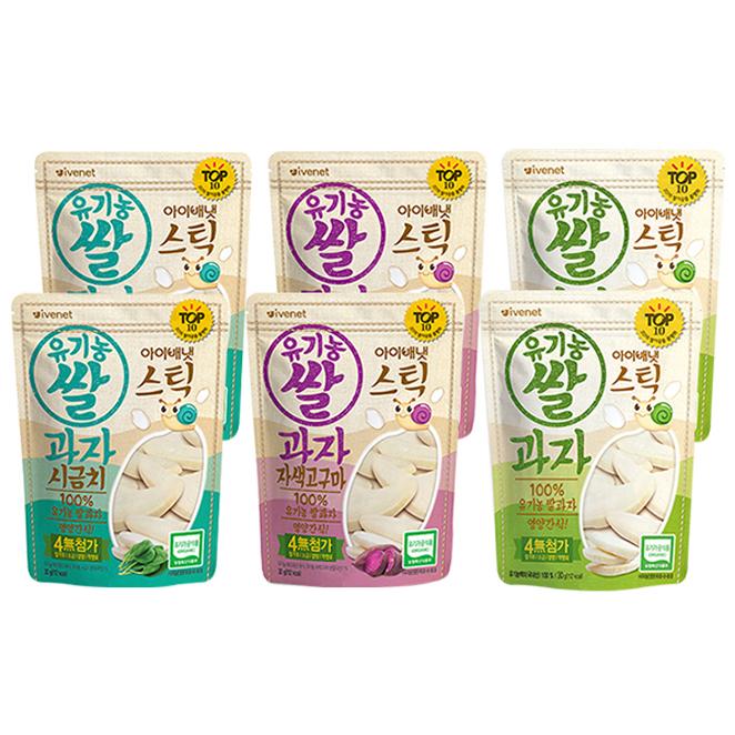 아이배냇 스틱 유기농 쌀과자 백미 2p + 자색고구마 2p + 시금치 2p, 백미맛, 자색고구마맛, 시금치맛, 1세트