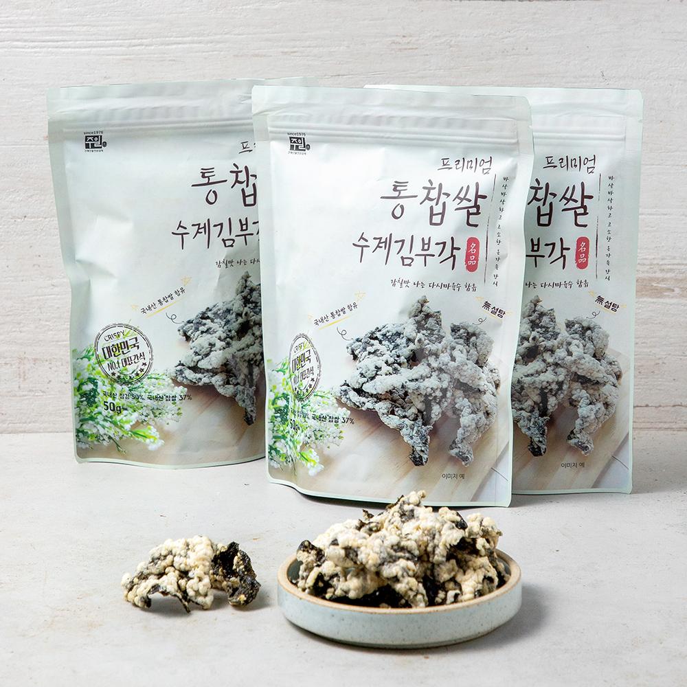 프리미엄 통찹쌀 수제 김부각, 50g, 3개