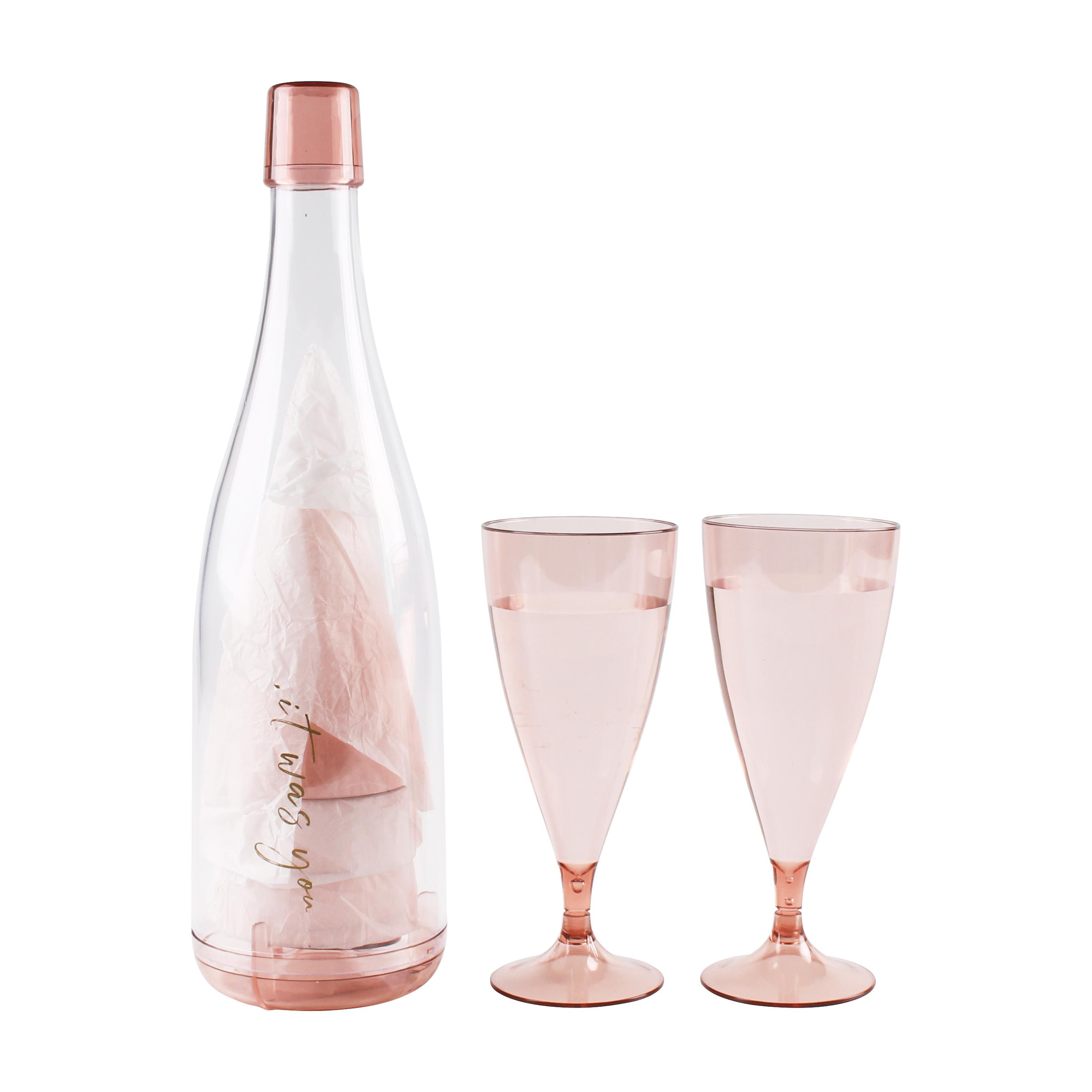 잇워즈유 피크닉 와인잔 5p + 병케이스, 핑크, 1세트