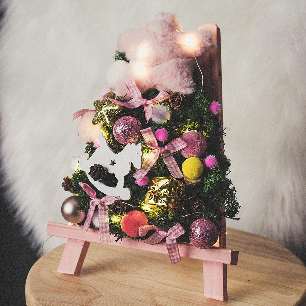 아스파시아 마일드 크리스마스 미니 모스화환 트리 + LED전구, 혼합 색상