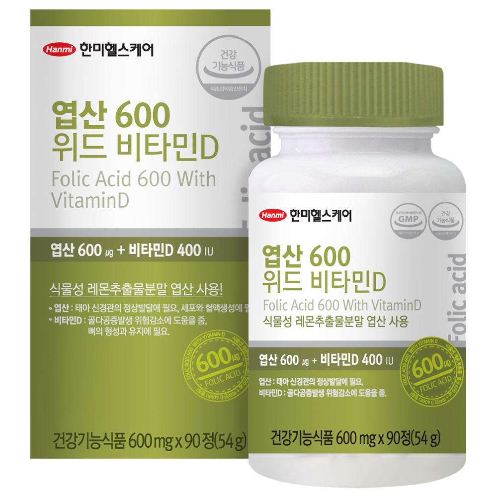 한미헬스케어 엽산 600 위드 비타민D, 90정, 1개