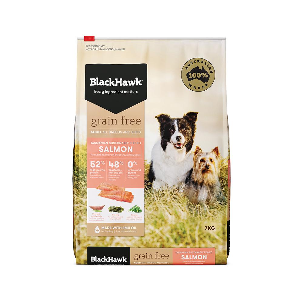 블랙호크 어덜트 그레인 프리 올브리드 강아지 건식 사료, 연어, 7kg