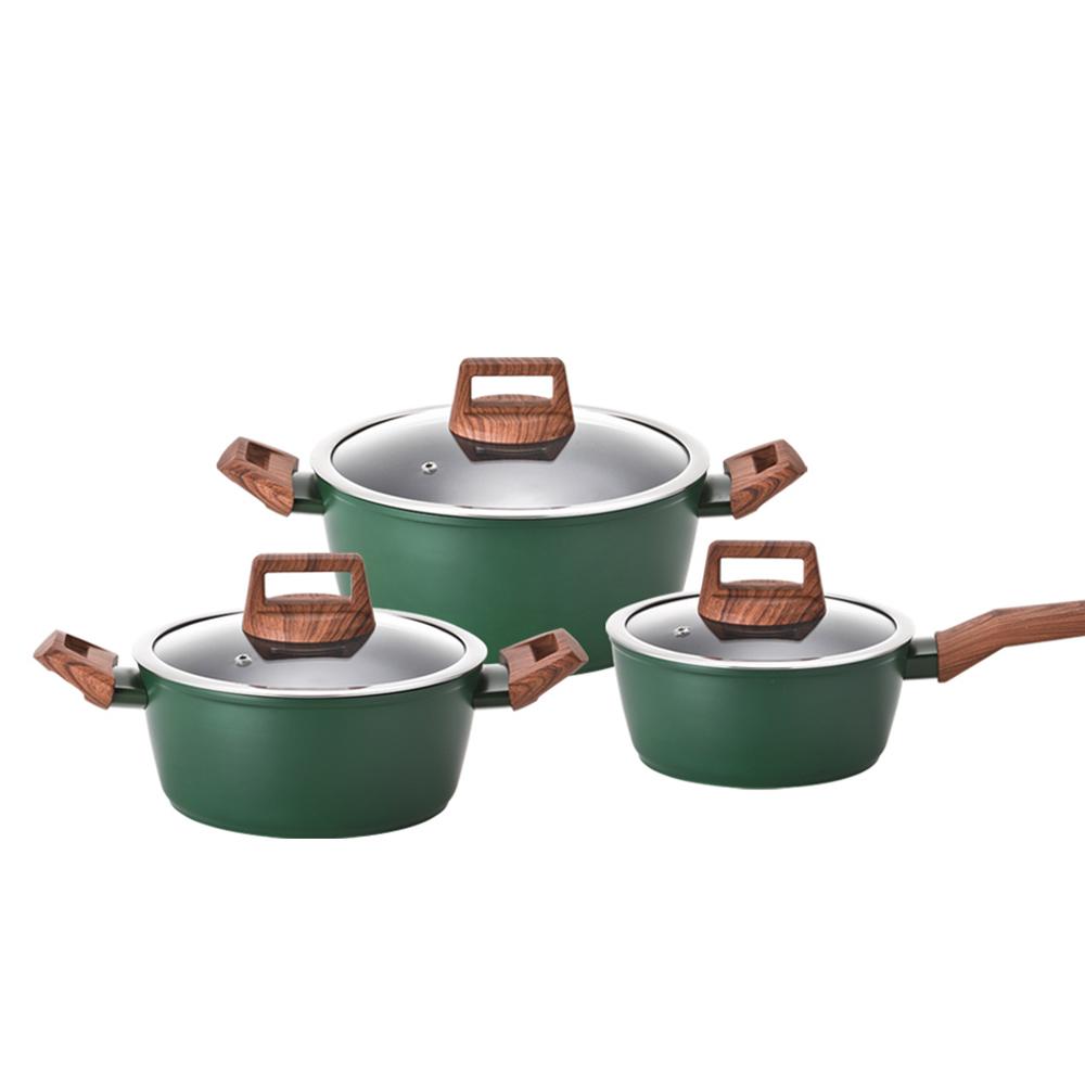키친플라워 쿠킨 IH 인덕션 냄비 3종세트, 그린우드, 편수 18cm + 양수 20cm + 24cm
