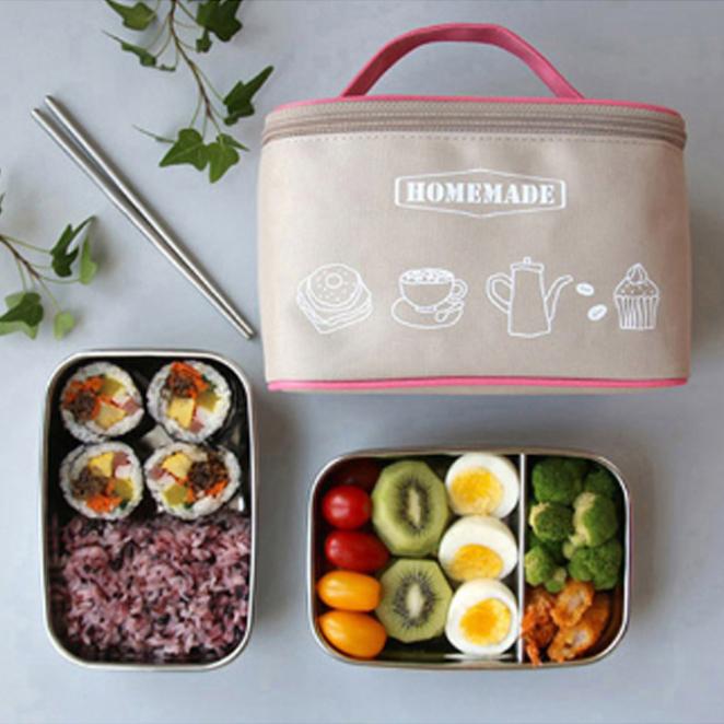 브링미 Big 스텐도시락 2종 + 스텐진공젓가락 + 보온보냉가방, 베이지, 1세트