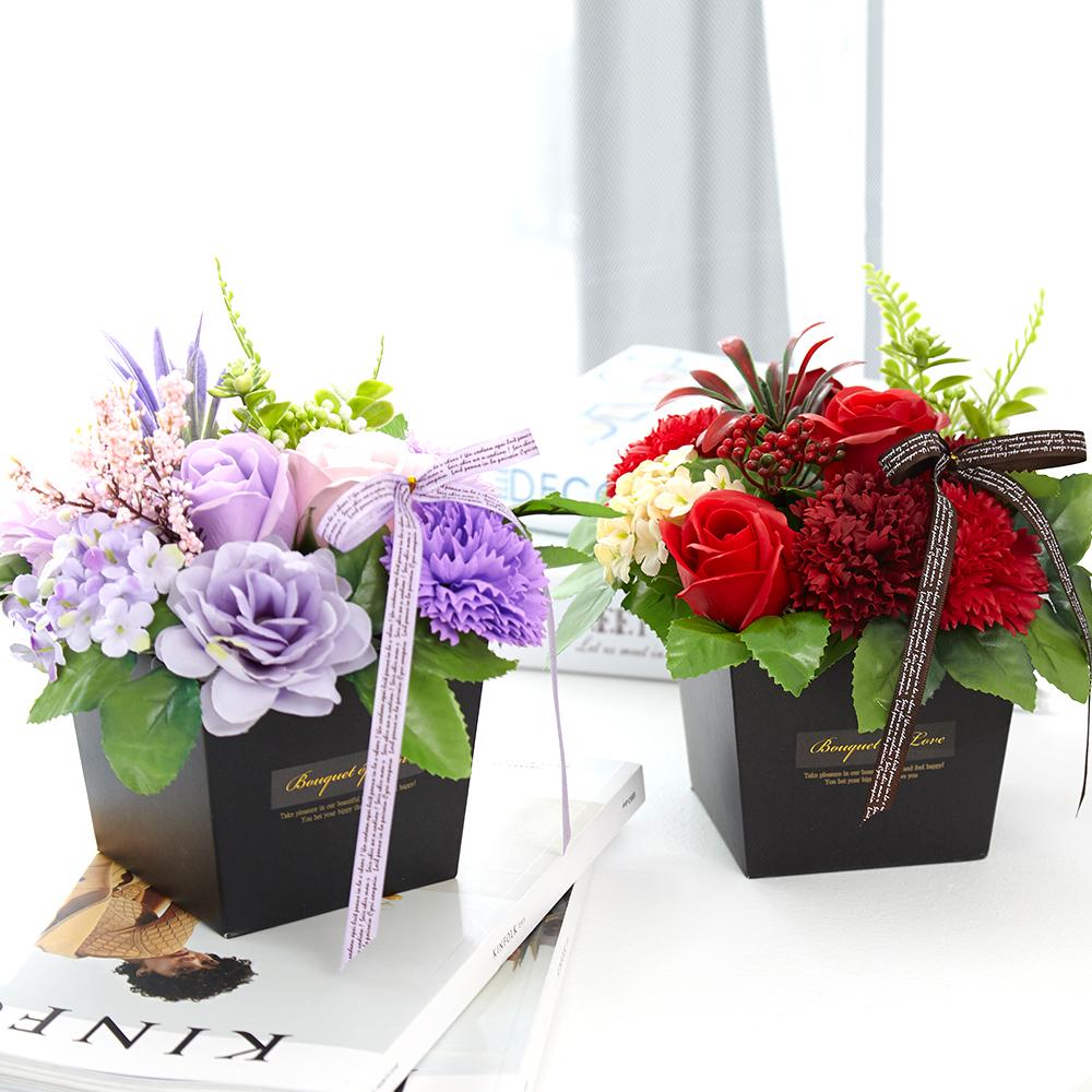 하우쎈스 비누꽃 카네이션 부케, 레드와인 + 바이올렛, 1세트