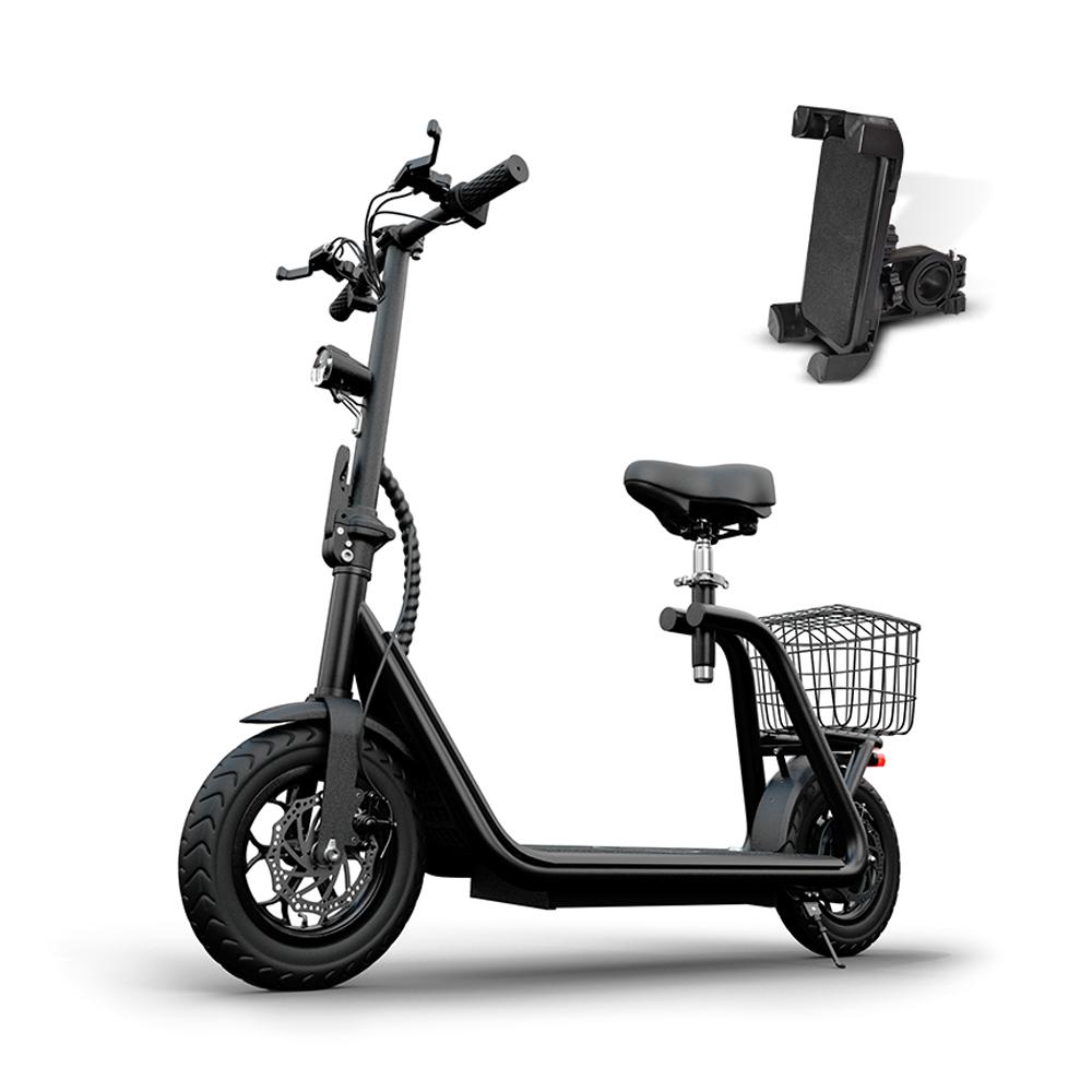 나노휠 전동스쿠터 10Ah + 전용 안장 + 바구니 + 휴대폰거치대, MB-X3, 블랙