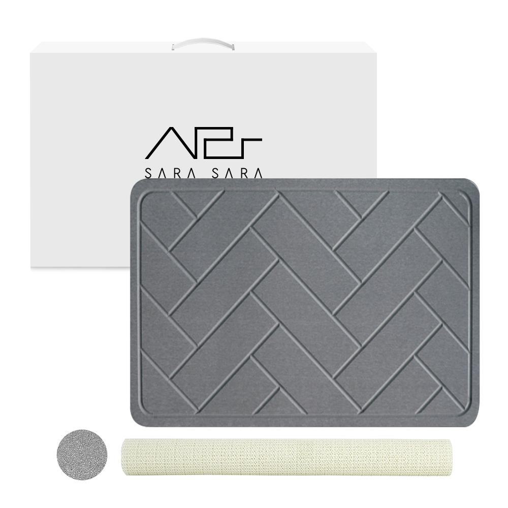 사라사라 3D 헤링본 규조토 발매트 + 미끄럼방지 매트, 1개, 다크그레이