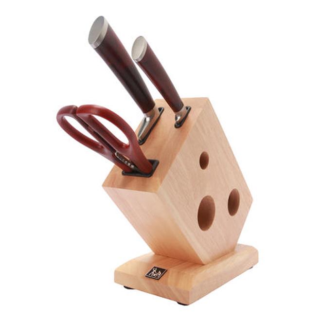 에찌모토 우디 칼 가위 블럭 4종 세트, 1세트, 블럭 + 산토크식도 + 과도 + 가위