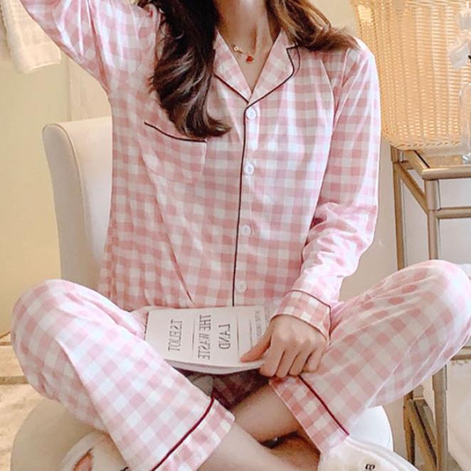 민트코코아 여성용 체크 베이직 잠옷 세트