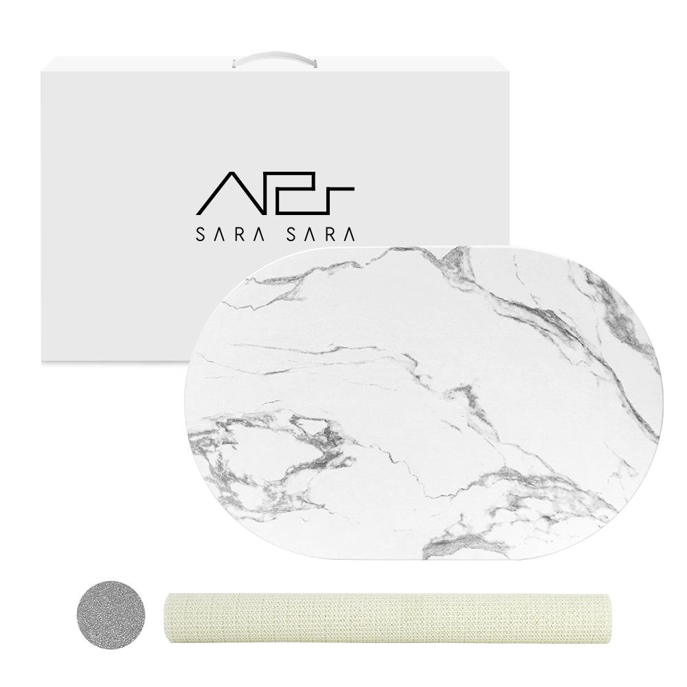사라사라 마블 라운드 규조토 발매트 + 미끄럼방지 매트, 1개, 그레이