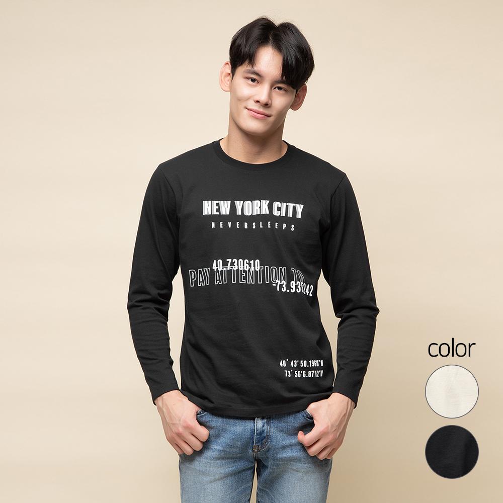 캐럿 남성용 레귤러 핏 긴팔 그래픽 티셔츠 NYC