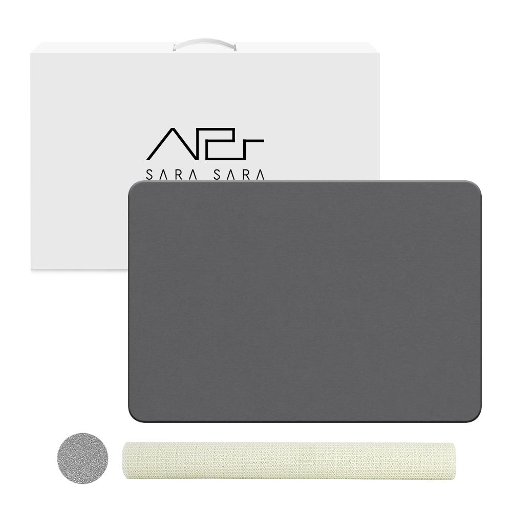 사라사라 천연제습 규조토 욕실 발매트+박스포장 패키지+미끄럼 방지 매트+사포, 다크그레이