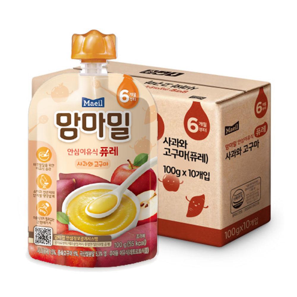맘마밀 안심 이유식 퓨레 6개월부터, 사과 + 고구마 혼합맛, 10개입