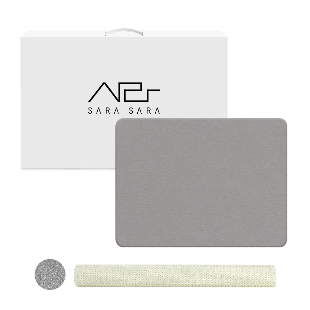사라사라 천연제습 규조토 욕실 발매트+박스포장 패키지+미끄럼 방지 매트+사포, 그레이