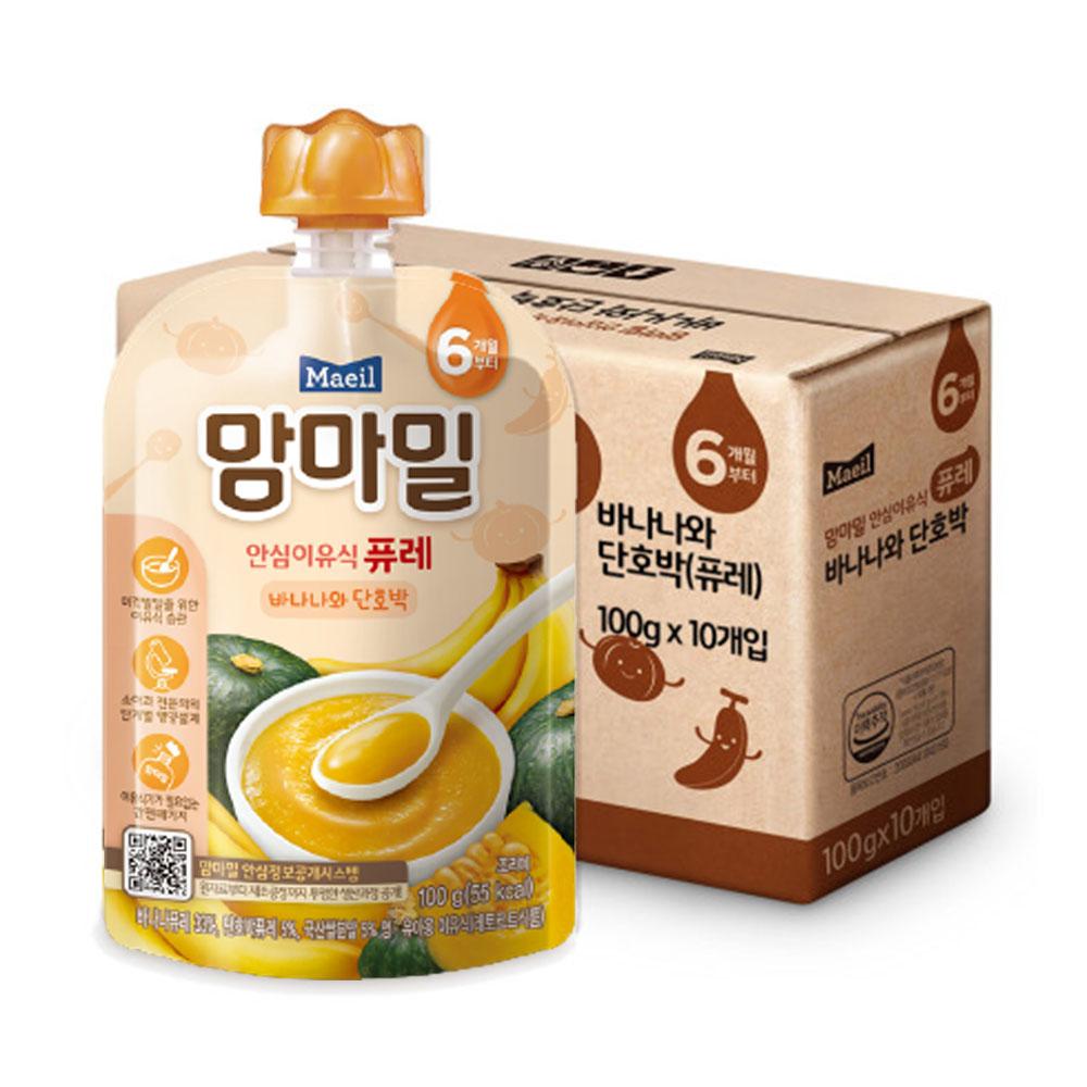 맘마밀 안심 이유식 퓨레 6개월부터, 바나나 + 단호박 혼합맛, 10개입