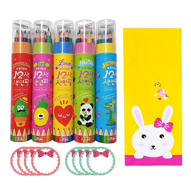 색연필 랜덤발송 5p + 토끼봉투 5p + 스티커 핑크 4p + 민트 4p, 12색
