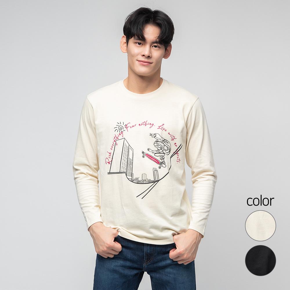 캐럿 남성용 레귤러 핏 긴팔 그래픽 티셔츠 SB