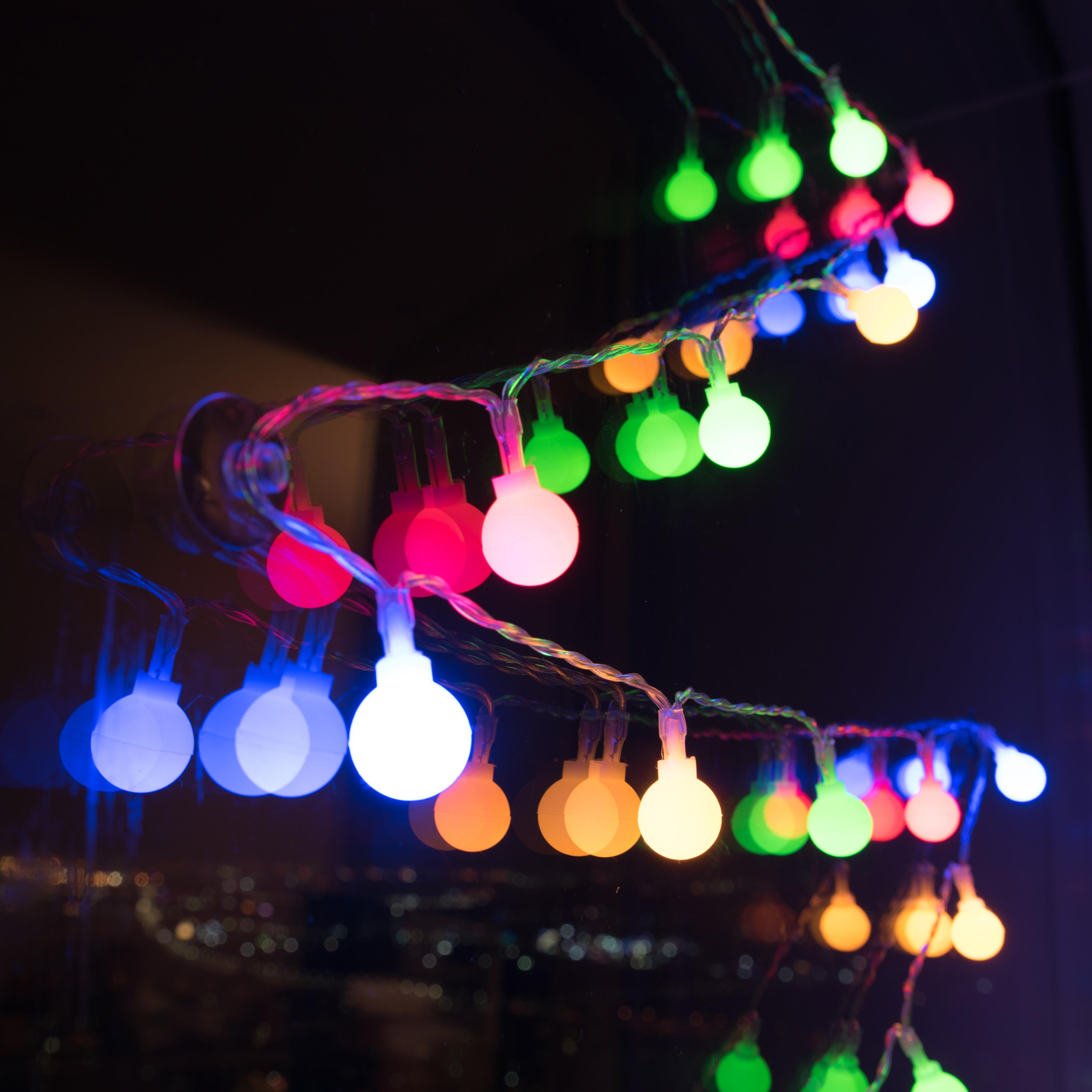 코멧 무지개 앵두전구 줄조명 40구, 혼합색상