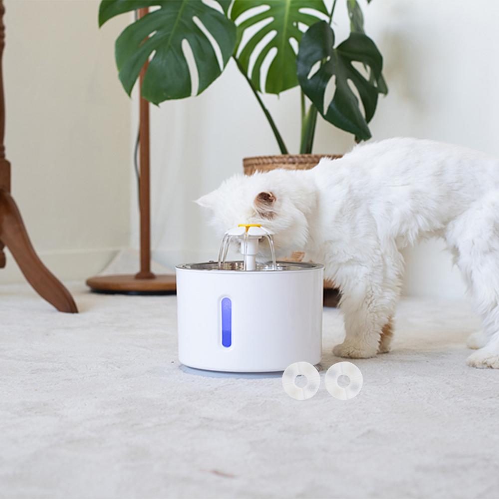 트윙클펫 스테인리스 고양이 정수기 + 리필 필터 2p, TP0301, 혼합 색상