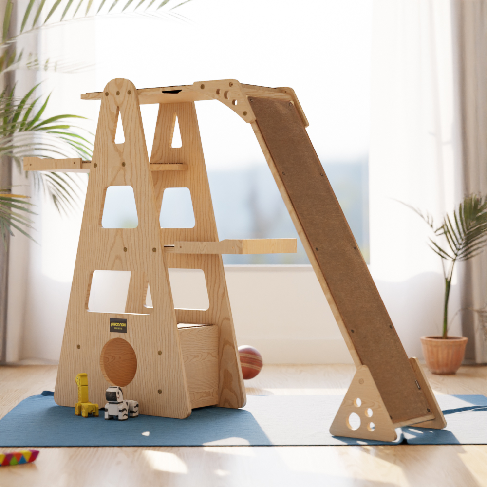 피카노리 소나무 원목 에펠 캣타워 + 쿠션 랜덤발송 세트, 브라운(PECA8003BR), 1세트