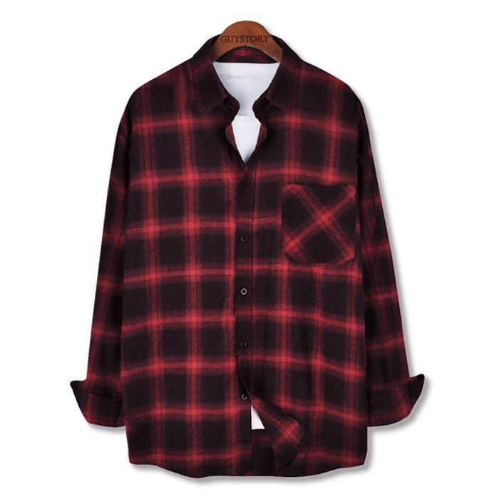 가이스토리 남성용 긴팔 남방 캐주얼 오버핏 이븐 체크 셔츠