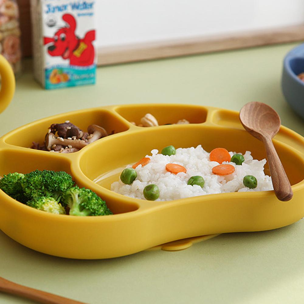 [흡착 식판] 파스텔 실리콘 어린이 자동 흡착 식판 접시, 옐로우, 단품 - 랭킹10위 (13800원)