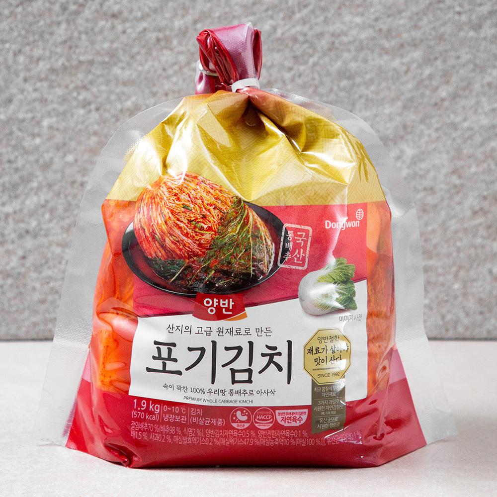 양반 산지의 고급 원재료로 만든 포기김치, 1.9kg, 1개