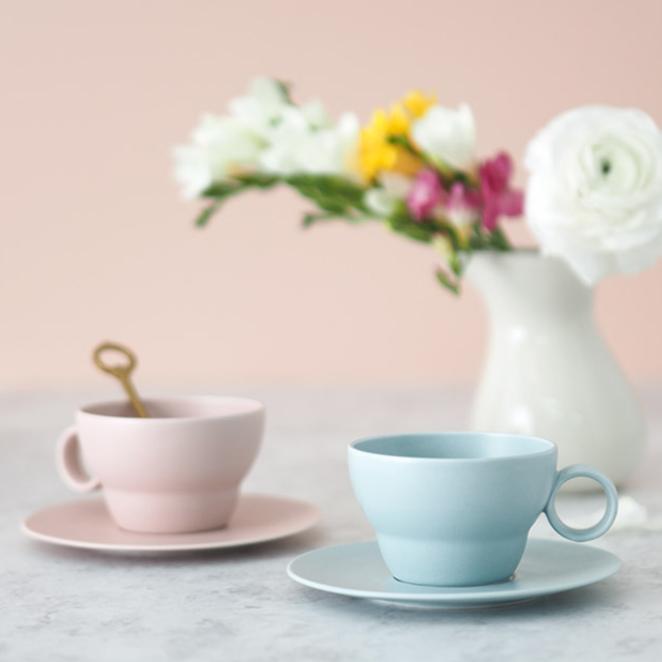 보울보울 볼볼빈티지 2인조 커피잔 세트, 핑크 블루, 1세트