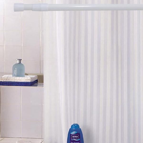 썬데코 패브릭 방수 샤워커튼 흰색줄무늬 + 커튼링 12p + 샤워봉 6호, 1세트