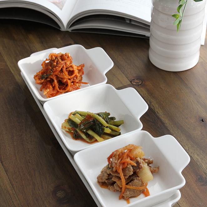 쓰임 나눔 접시 사각찬기 3p + 사각접시 세트, 모던 화이트, 1세트