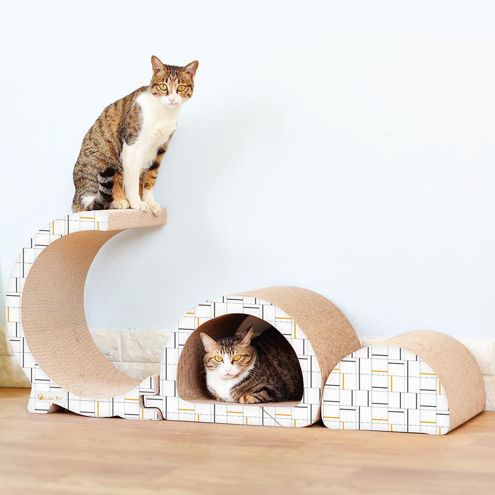 고양이 대형 3단분리 고급형 스크래쳐 + 캣닢, 혼합색상, 1세트