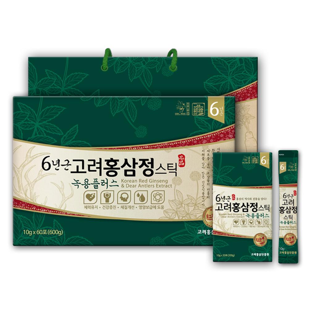 고려홍삼진흥원 6년근고려홍삼정 녹용플러스 스틱 + 쇼핑백, 10g, 60포