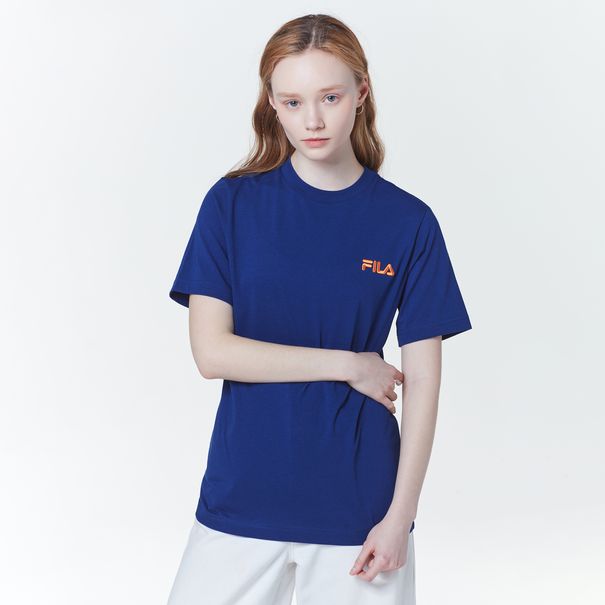휠라 남녀공용 박스 로고 티셔츠 FS2RSC2125X