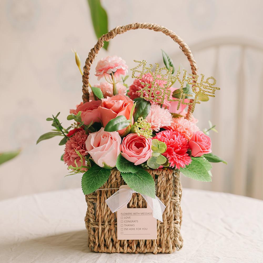 아스파시아 플로렌스 카네이션 비누꽃 바구니, 핑크
