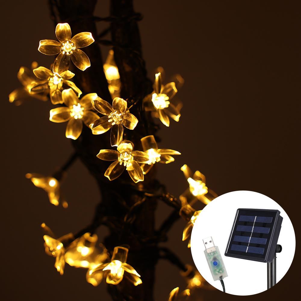 21세기트랜드 태양열 + USB 벚꽃 전구 12m 100구, 황색