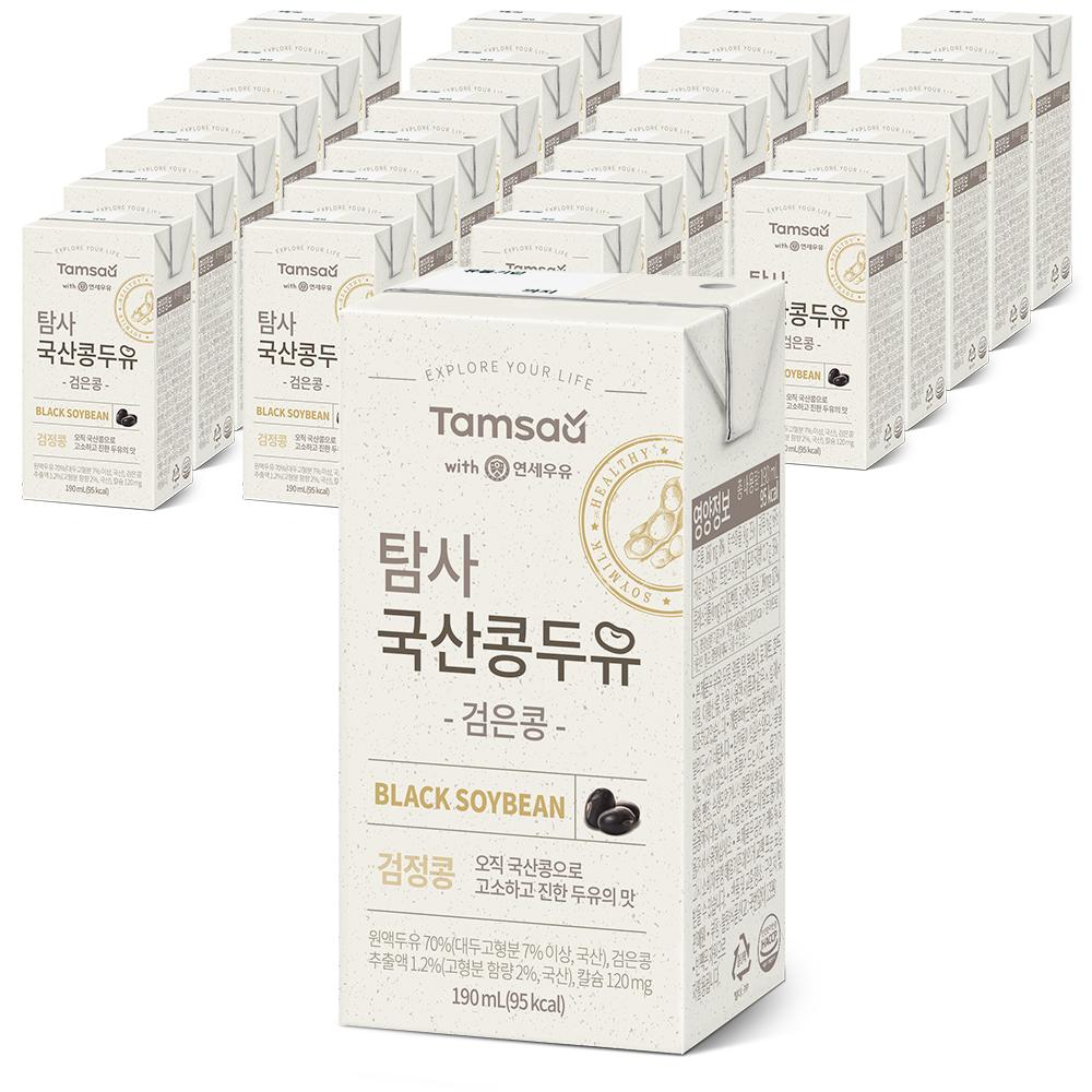 쿠팡 브랜드 - 탐사 국산콩 검은콩 칼슘 두유, 190ml, 24개
