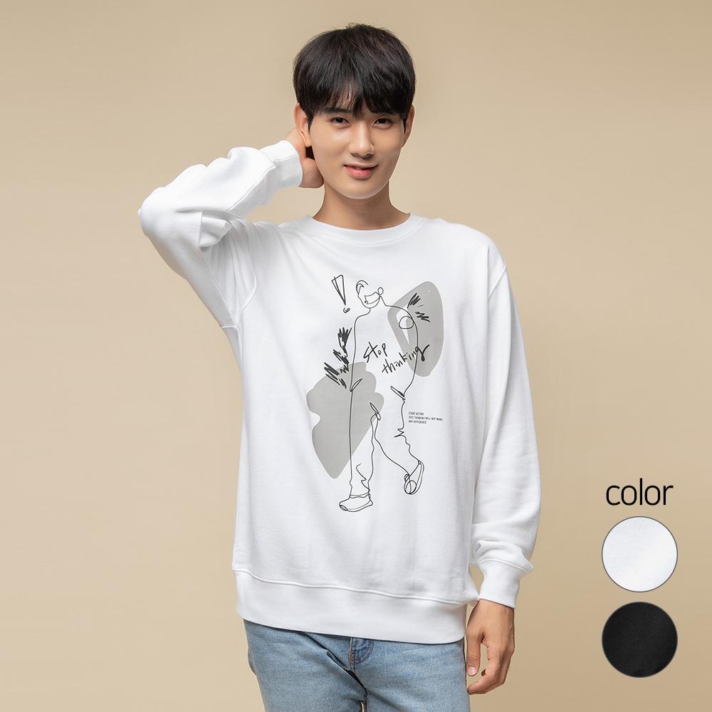 캐럿 남녀공용 릴렉스핏 그래픽 맨투맨 티셔츠 SM04AA