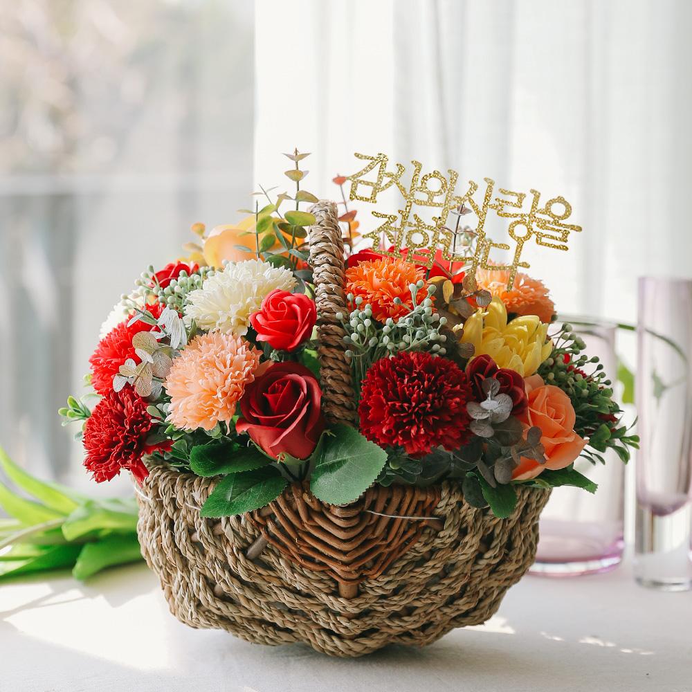 아스파시아 비누꽃 라쥴리 카네이션 바구니, 레드, 1개