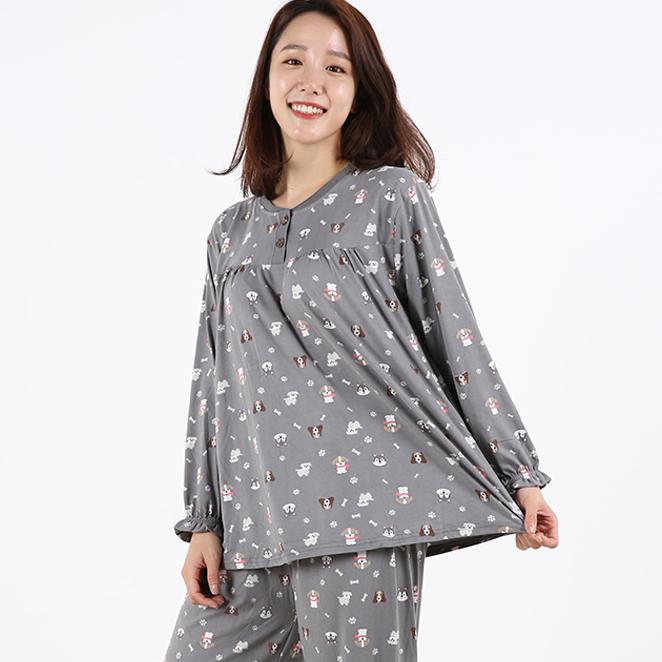 도씨 피치기모 긴팔 여성잠옷 상하세트
