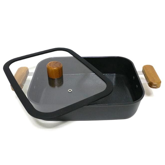 키친아트 포르트 IH 세라믹 코팅 사각 전골냄비, 27 x 21 x 6.5 cm, 혼합 색상