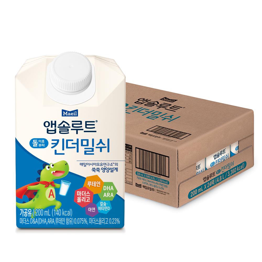 앱솔루트 킨더밀쉬 200ml, 우유맛, 24개