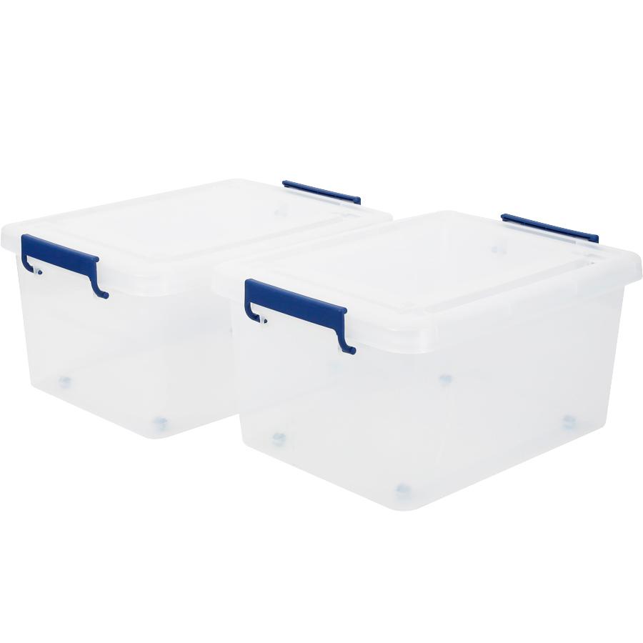 앤플라스틱 클라스 리빙박스 45L, 반투명 + 블루, 2개입