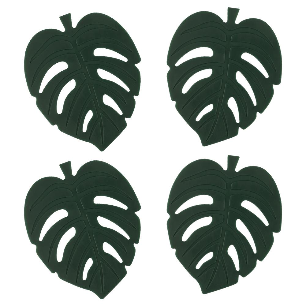 플라이토 실리콘 나뭇잎 컵받침 4p, 헌터그린