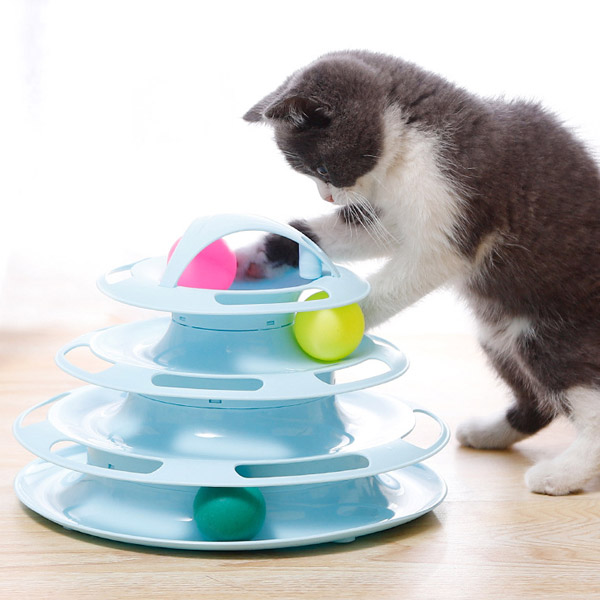 발라당 고양이 반자동 움직이는 공놀이 장난감 4단, 블루, 1개