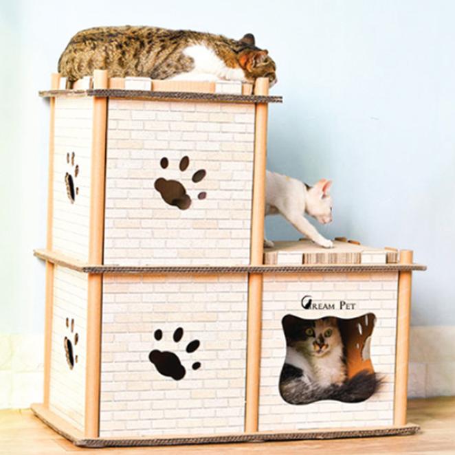 크림펫 고양이 숨숨집 스크래쳐 3층 캣타워, 혼합색상, 1개