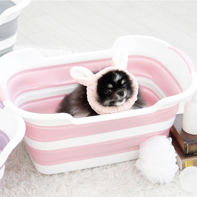 펫토리아 반려동물 접이식 욕조, 핑크, 1개 (POP 1274603405)